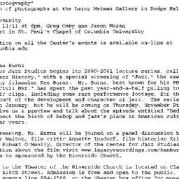 Announcements, 2000-11-05. ...