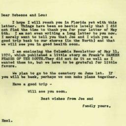 Correspondence, 1970-05-21....