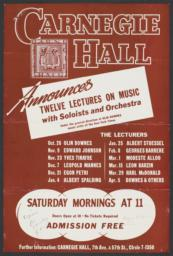 Program for Anniversary Lectures at Carnegie Hall