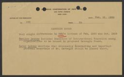 Summary of a letter by Nicholas Murray Butler, made for Frederick P. Keppel by a Carnegie Corporation secretary