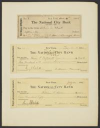 Mounted checks issued by the Carnegie Foundation for Advancement of Teaching
