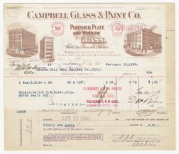 Campbell Glass & Paint Co.. Bill - Recto