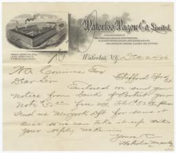 Waterloo Wagon Co. Limited. Letter - Recto
