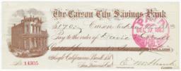 Carson City Savings Bank. Check - Recto