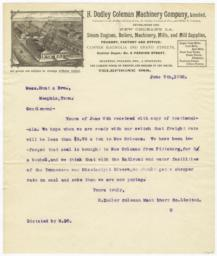 H. Dudley Coleman Machinery Company, Limited. Letter - Recto