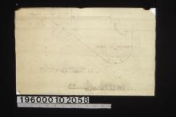 Partial plan\, unidentified sectional elevation of grounds\, sectional elevation looking east on axis of pool\,